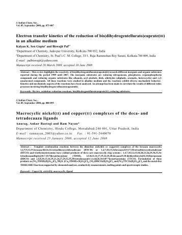 Abstracts of Journal of Indian Chemical Society Vol.85, September ...
