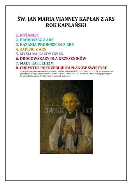 św Jan Maria Vianney Kapłan Z Ars Rok Kapłański Echo