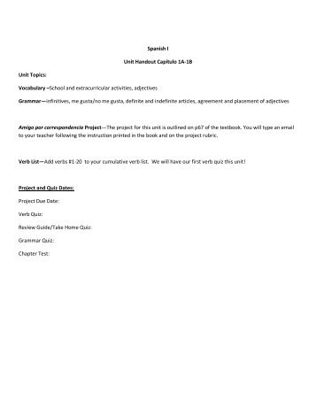Unit Handout - Hoover City Schools
