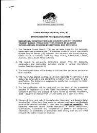 invitation for pre-qualification - Tanzania Tourist Board