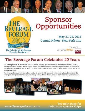 Sponsor Opportunities - Beverage World Magazine