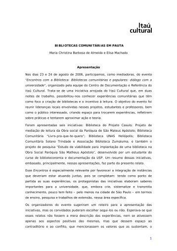 Maria Christina Barbosa de Almeida - Itaú Cultural