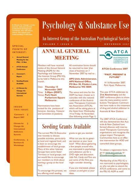 Psychology & Substance Use - APS Member Groups - Australian ...