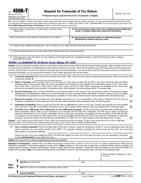 4506 t form business  Tax Transcript Request Form - New York Business Development ...
