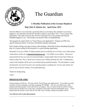 April Guardian - German Shepherd Dog Club of Atlanta