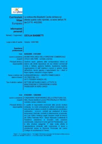 Curriculum vitae - Comune di Favignana