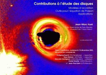 Contributions à l'étude des disques - Laboratoire d'Astrophysique de ...