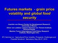 Futures markets - grain price volatility and global food security
