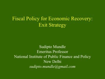 Fiscal Policy for Economic Review: Exit Strategy