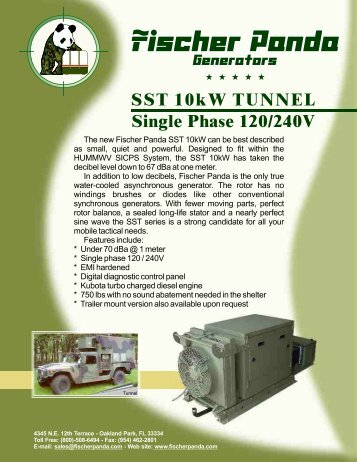 Panda SST10kw Tunnel SinglePhase - Fischer Panda Generators Inc.