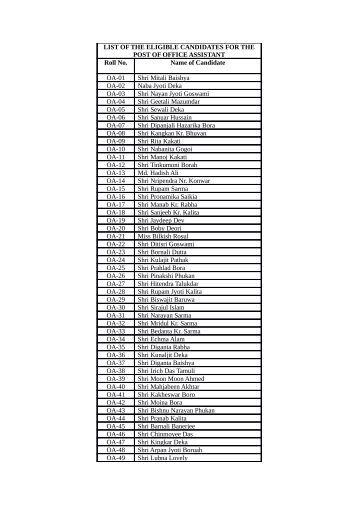 List of Computer Programmer AA, OA and DEO.pdf - Assam Online ...
