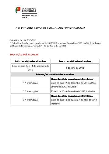 CALENDÁRIO ESCOLAR PARA O ANO LETIVO 2012/2013