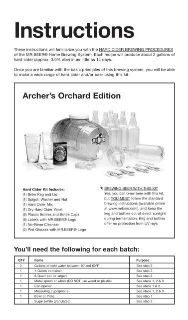 Archer's Orchard Hard Cider Kit Instructions - Mr Beer
