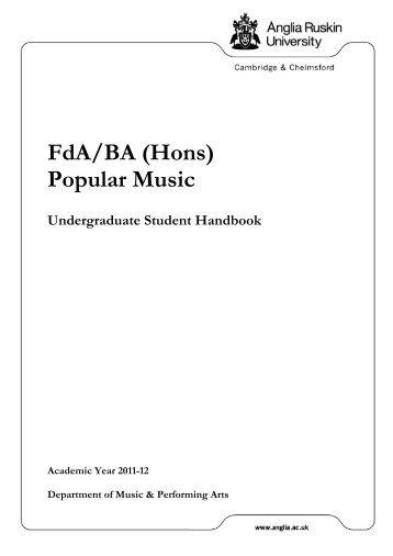 BA Popular Music Handbook - My.Anglia Homepage - Anglia Ruskin ...