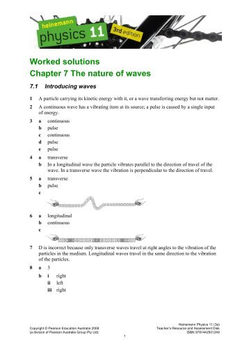 Worked solutions Chapter 7 The nature of waves - PEGSnet