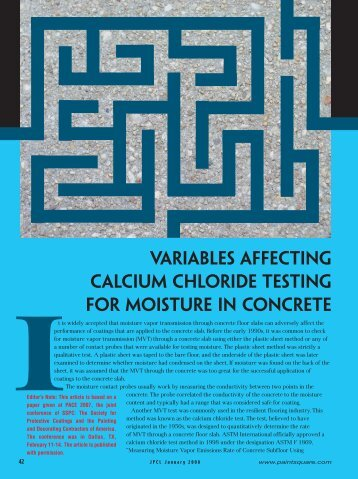 Variables Affecting Calcium Chloride Testing for ... - PaintSquare