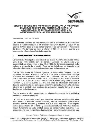 ESTUDIOS PREVIO INVITACION PUBLICA No 10 - Contraloría ...