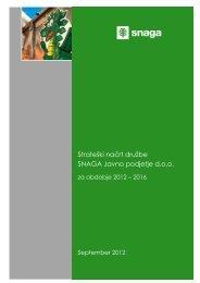 Strateški načrt družbe SNAGA Javno podjetje za obdobje 2012