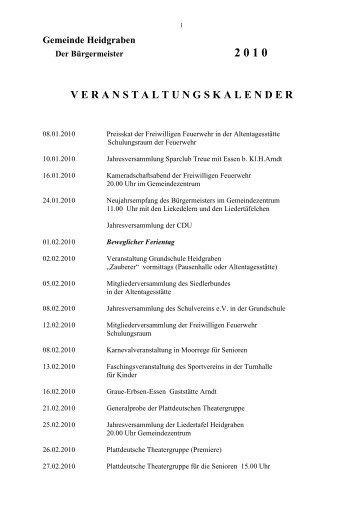 Veranstaltungskalender 2010 - Heidgrabener Sportverein von 1949 ...