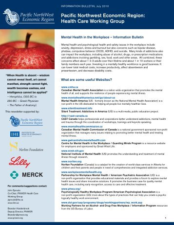 Pacific Northwest Economic Region: Health Care Working Group