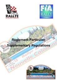Supplementary regulation - Rallye de Nouvelle Calédonie