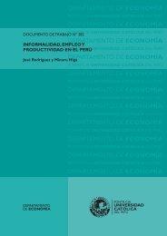 Informalidad, empleo y productividad en el Perú - Pontificia ...