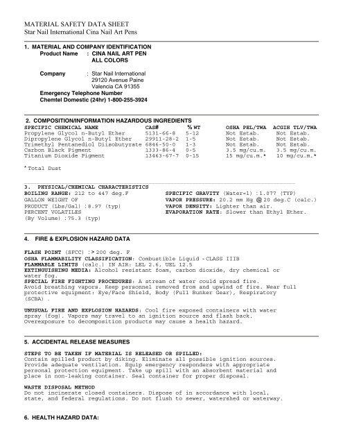 Material Safety Data Sheet Star Nail International Cina Nail Art