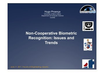 Non-Cooperative Biometric Recognition: Issues and Trends - UBI