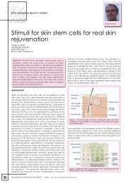 Stimuli for skin stem cells for real skin rejuvenation