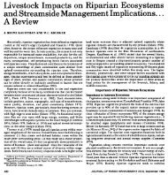 Livestock Impacts on Riparian Ecosystems and Streamside ...