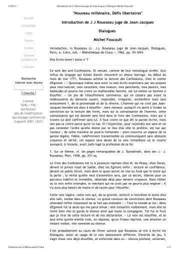 Introduction de J J Rous...alogues Michel Foucault - Rousseau Studies