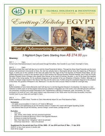 3 Nights/4 Days Cairo Starting from A$ 274.00 pps - travelwiz.com.au