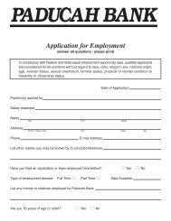 Application for Employment - Paducah Bank