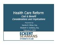 Health Care Reform: Cost & Benefit ... - Eckert Seamans