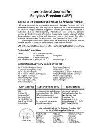 IJRF Vol 3:1 2010 - International Institute for Religious Freedom