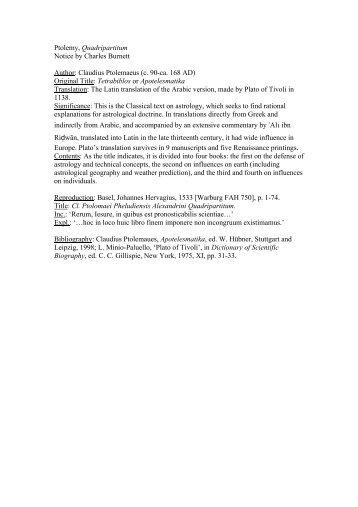 Ptolemy, Quadripartitum Notice by Charles Burnett Author: Claudius ...