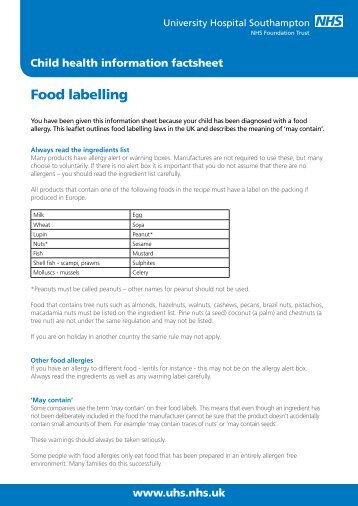 Food labelling - patient information