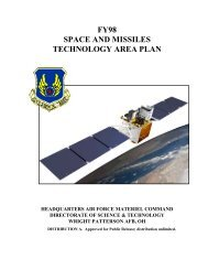 FY98 SPACE AND MISSILES TECHNOLOGY AREA PLAN