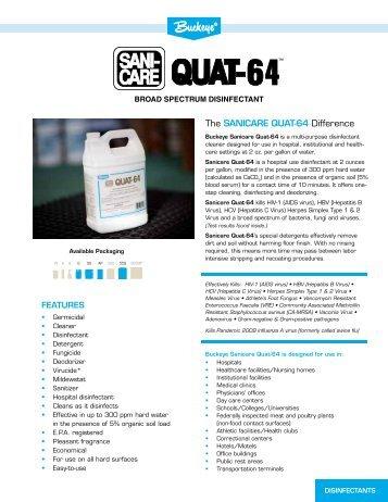 Buckeye sanicare quat 128 for Greenspire solutions