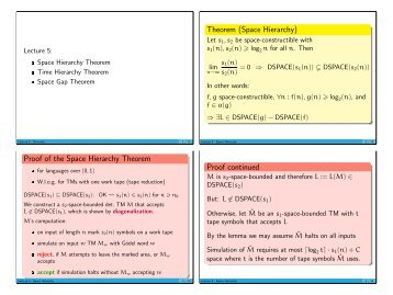 Theorem (Space Hierarchy) Proof of the Space Hierarchy Theorem ...