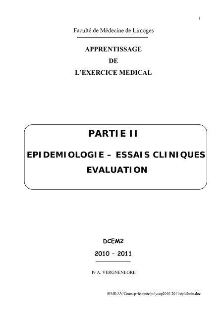 Epidemiologie Descriptive Faculte De Medecine De Limoges
