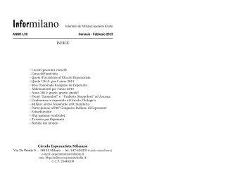 Informilano gennaio-febbraio 2013 - Circolo Esperantista Milanese