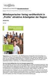 """""""Profile"""" attraktive Arbeitgeber der Region - Mittelbayerische ..."""