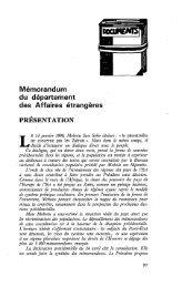 Présentation du Memorandum du département ... - Politique Africaine