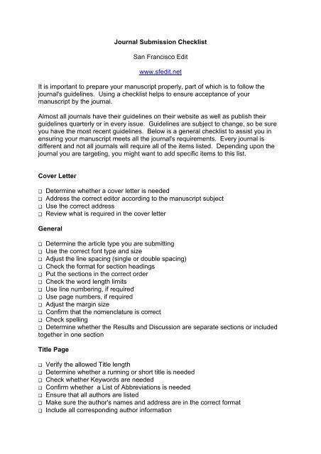 Journal Submission Checklist San Francisco Edit Www Sfedit
