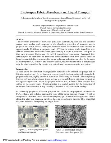 structure and process relationship of electrospun bioabsorbable nanofiber