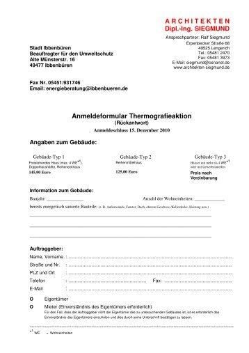Anmeldeformular Thermografieaktion ... - Stadt Ibbenbüren