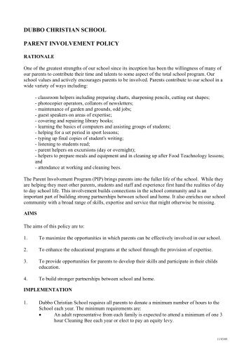 parent involvement plan template - student class placement policy dubbo christian school