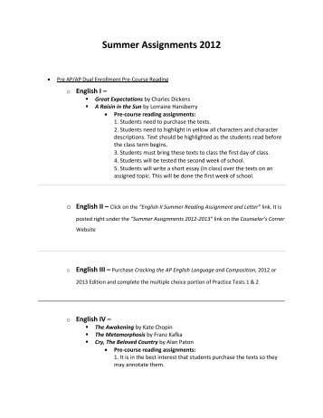 Summer Assignments 2012 - Sharyland ISD