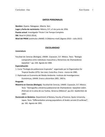DATOS PERSONALES ESCOLARIDAD - Junta de Gobierno UNAM
